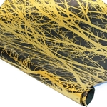 Silkscreened Nepalese Lokta Paper - BRANCH - Gold on Black