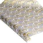 Decorative Italian Marble Print Paper - PEACOCK - PURPLE AND GOLD