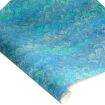 Decorative Italian Hand-Marbled Paper - PEACOCK - BLUE