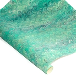 Decorative Italian Hand-Marbled Paper - PEACOCK - GREEN