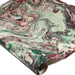 Marbled Lokta Paper - RED/GREEN on NATURAL