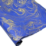 Marbled Lokta Paper - GOLD ON BLUE