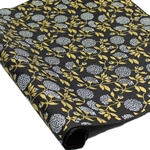 Silkscreened Nepalese Lokta Paper - FLORAL - Grey and Gold on Black