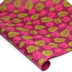 Silkscreened Nepalese Lokta Paper - FERN - Green and Pink on Magenta