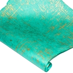 Silkscreened Nepalese Lokta Paper - BRUSH - Gold on Turquoise