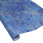 Italian Marbled Paper - BIRD WING - Bright Blues/Gold