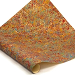 Italian Marbled Paper - CURLED STONE - Red/Blue/Green