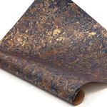 Italian Marbled Paper - CURLED STONE - Blue/Brown/Gold