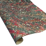 Italian Marbled Paper - VEIN - Green/Red