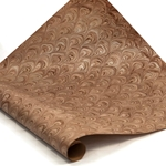 Italian Marbled Paper - FLOW - Cream/Brown/Silver
