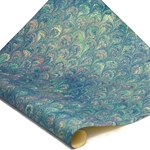 Italian Marbled Paper - PEACOCK - Blues