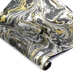Marbled Lokta Paper - GOLD/SILVER ON BLACK