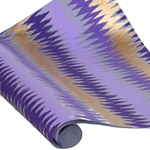 Metallic Screenprinted Indian Cotton Rag Paper - ZIG ZAG - PURPLE/GOLD