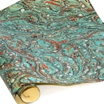 Italian Marbled Paper - SUN SPOT - Teal/Red