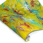 Custom Marbled Paper - Bird's Wing - YELLOW/RED