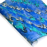 Custom Marbled Paper - Wave - BLUE/BLACK/TURQUOISE