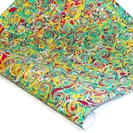 Italian Marbled Paper - FRENCH CURLED - Yellow/Blue/Red