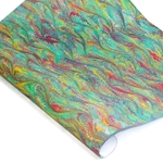 Italian Marbled Paper - BIRD WING - Yellow/Blue/Red