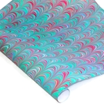 Italian Marbled Paper - MOVED - Blue/Fuchsia/Brown