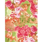 Decopatch Decoupage Paper - Floral Cherub - GREEN/PINK/RED