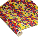 Silkscreened Nepalese Lokta Paper - Pansy - YELLOW/RED/BLUE