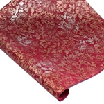 Silkscreened Nepalese Lokta Paper - Floral - COPPER/SILVER ON RED