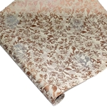Silkscreened Nepalese Lokta Paper - Floral - COPPER/SILVER ON NATURAL