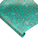 Silkscreened Nepalese Lokta Paper - Floral - COPPER/SILVER ON TURQUOISE
