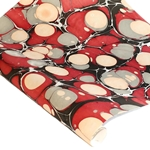 Marbled Indian Cotton Rag Paper - BUBBLE - RED/GRAY/BLACK