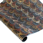 Marbled Indian Cotton Rag Paper - PEACOCK - BLUE/RED/GOLD ON BLACK