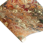 Marbled Indian Cotton Rag Paper - PEACOCK - ORANGE/RED/GREEN