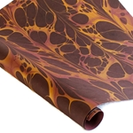 Marbled Indian Cotton Rag Paper - FIRE - BURGUNDY/GOLD