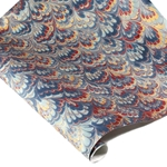 Marbled Indian Cotton Rag Paper - PEACOCK - BLUE/BURGUNDY/GOLD ON CREAM