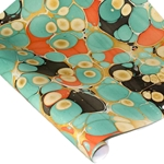 Marbled Indian Cotton Rag Paper - BUBBLE - TEAL/BLACK/ORANGE