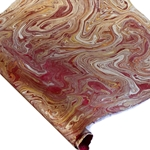 Marbled Lokta Paper - GOLD/SILVER/COPPER ON RASPBERRY