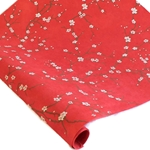 Silkscreened Nepalese Lokta Paper - Peach Blossom - WHITE ON RED