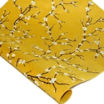 Silkscreened Nepalese Lokta Paper - Peach Blossom - WHITE ON YELLOW