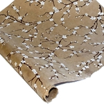 Silkscreened Nepalese Lokta Paper - Peach Blossom - WHITE ON LIGHT BROWN