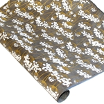 Silkscreened Nepalese Lokta Paper - Flowering Twigs - WHITE ON SLATE