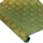 Silkscreened Nepalese Lokta Paper - Sagebrush - GOLD ON GREEN