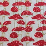 Lokta Paper Origami Pack - Silkscreened Nepalese Lokta Paper - Mushrooms - RED AND GOLD ON CREAM