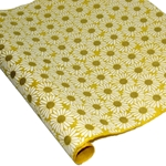 Silkscreened Nepalese Lokta Paper - Daisy - WHITE ON YELLOW