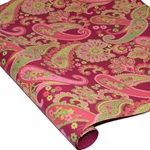 Metallic Screenprinted Indian Cotton Rag Paper - FLORAL PAISLEY - PINK/GREEN