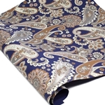Metallic Screenprinted Indian Cotton Rag Paper - FLORAL PAISLEY - BLUE/GOLD