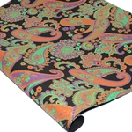 Metallic Screenprinted Indian Cotton Rag Paper - FLORAL PAISLEY - AQUA/ORANGE/PURPLE