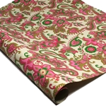 Metallic Screenprinted Indian Cotton Rag Paper - FLORAL PAISLEY - PINK/GREEN/GOLD