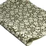 Metallic Screenprinted Indian Cotton Rag Paper - FLORAL - OLIVE/GOLD