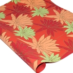 Metallic Screenprinted Indian Cotton Rag Paper - BLOOM - RED/ORANGE/GREEN