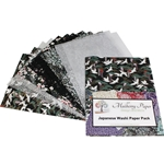 Japanese Washi Decorative Paper Pack - BLACK AND WHITE