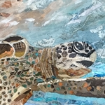 SEA TURTLE TORN PAPER PAINTING